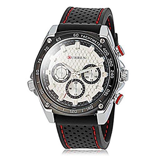 YPS Herren Einfache runde Vorwahlknopf Gummiband Quarz analoge Laessige Armbanduhr weiss WTH8219