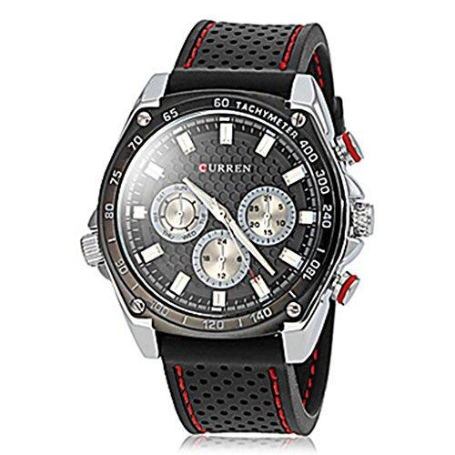 YPS Herren Einfache runde Vorwahlknopf Gummiband Quarz analoge Laessige Armbanduhr schwarz WTH8220