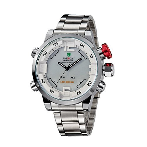 YPS Men Full Steel Fashion Military Multifunctional Quartz LED Wrist Watch WTH3189
