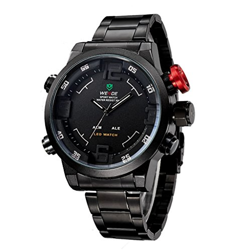 YPS Men Full Steel Fashion Military Multifunctional Quartz LED Wrist Watch WTH3190