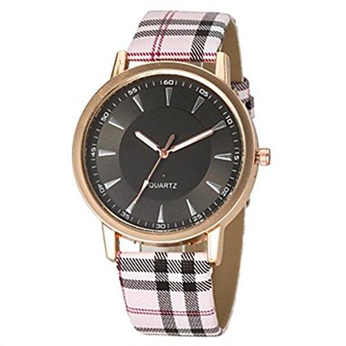 YPS Women Fashion Plaid Muster Band Armbanduhr schwarz WTH0915