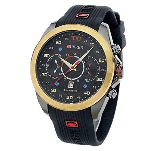 YPS Men Fashion Quartz Silikon 3 Zifferblaetter Stil Casual Datum Armbanduhr WTH4600