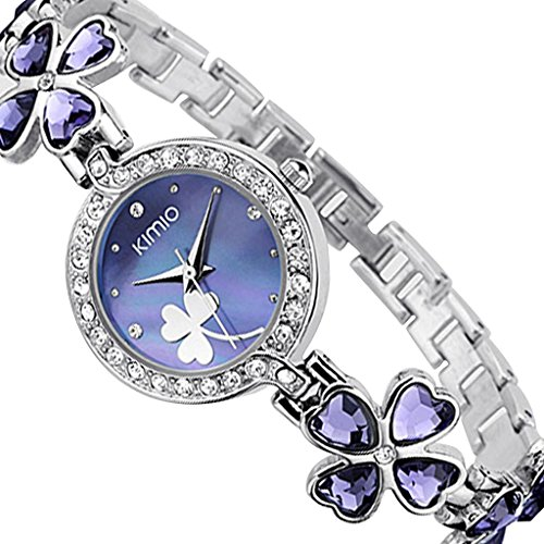 YPS Fashion Women Marke Kimio Edelstahl Buegel Armbanduhr Luxus Lady Lila WTH4006