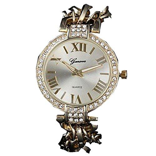 YPS Frauen Diamant Dekor Alu Band Quarz Armbanduhr Gold WTH2834