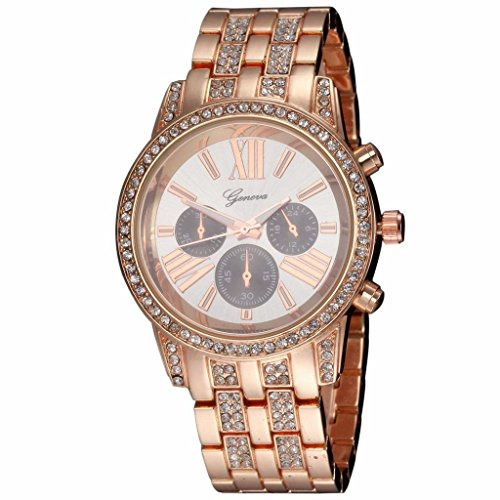 YPS Frauen Diamant Kasten Diamante Legierung Band Quarz Armbanduhr Rose Gold WTH2831