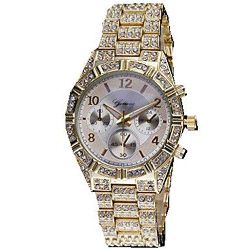 YPS Frauen Diamant Kasten Legierung Band Gold WTH2822