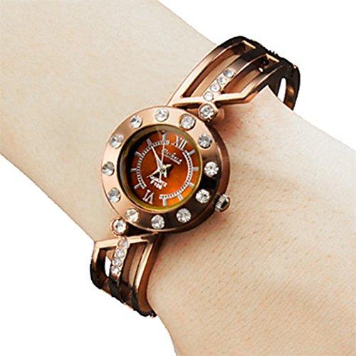 YPS Frauen Fashional Stil Metall Analog Quarz Armband Armbanduhr Bronze WTH8083