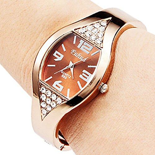 YPS Frauen Legierung Analog Quarz Armband Armbanduhr Bronze WTH8076