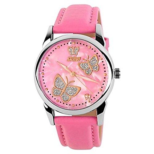 YPS Frauen Schmetterlings Muster Elegantes Dial Lederband Fashion Armbanduhr Pink WTH0962
