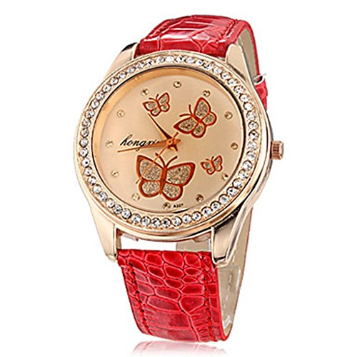 YPS Frauen Schmetterlings Muster Diamante runden Zifferblatt PU Band Quarz analoge Armbanduhr WTH8278