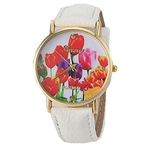 YPS Frauen Vogue Tulpe Muster PU Band weiss WTH0891