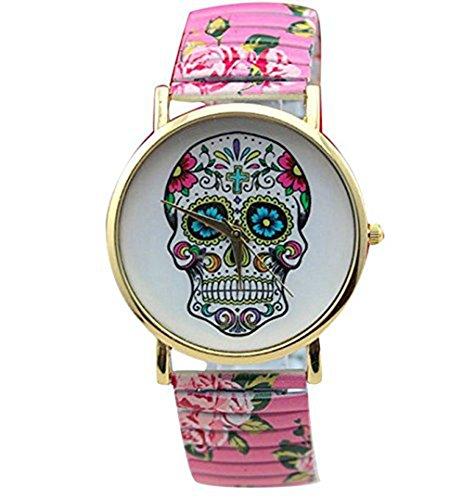 YPS Frauenfoerderung Schaedel Gesicht Design Blume druckte Gummizug Genfer Uhren Schaedel Rosa WTH0793