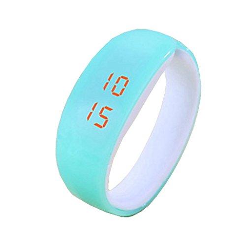 YPS Unisex Frische Farben LED Armband Kunststoff Wirst Uhr Light Blue WTH3281