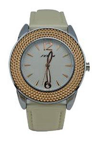 YPS Damen Analog Goldene Vorwahlknopf PU Leder Armbanduhr WTH0264