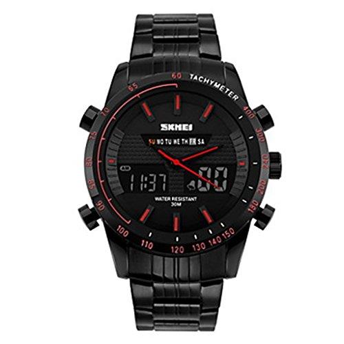 YPS Herren Anzeige zweier Zeit Analog Digital Schwarz Edelstahl Sport Armbanduhr Rot WTH3325