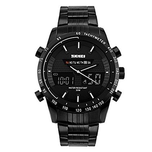 YPS Herren Anzeige zweier Zeit Analog Digital Schwarz Edelstahl Sport Armbanduhr Weiss WTH3326