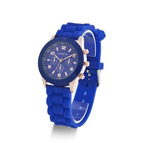 YPS Herren Damen Genf Silikon Gelee Gel Quarz Entsprechungs Sport Armbanduhr Blau WTH0722