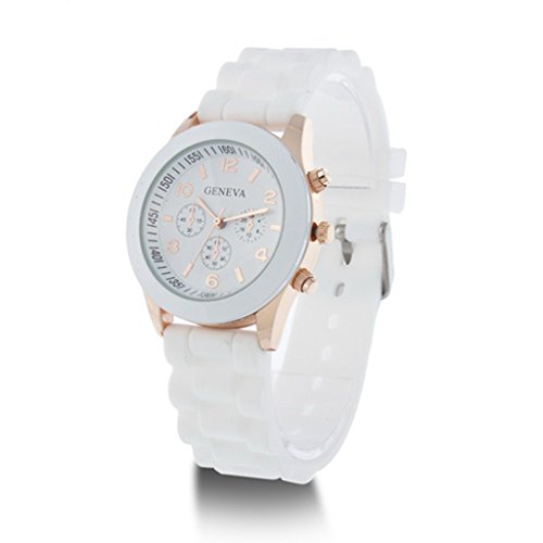 YPS Herren Damen Genf Silikon Gelee Gel Quarz Entsprechungs Sport Armbanduhr Weiss WTH0726