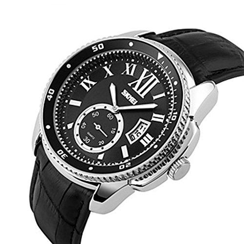 YPS Herren Elite Fashion Leder Quarz Armbanduhr Geschaefts Silber Schwarz WTH3310