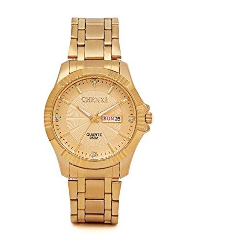YPS Herren Luxury Full Edelstahl Mode Milit r Gold WTH3415