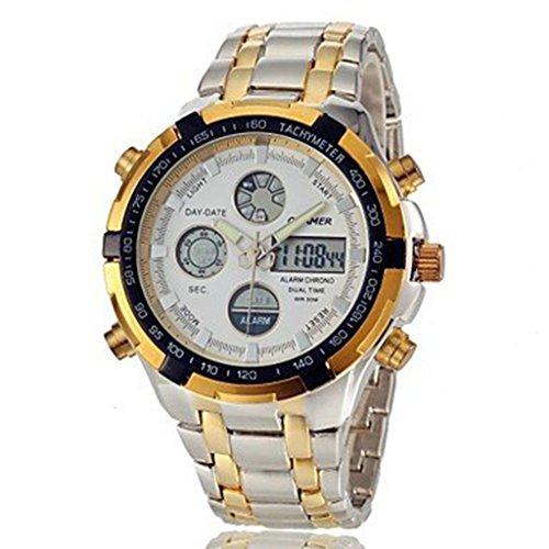 YPS Herren Multifunktions Analog Digital Ganzstahl Band Armbanduhr Gold weiss WTH2839