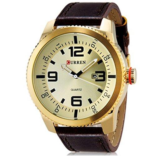 YPS Herren Sport Quarz Modische Grosser runder Vorwahlknopf analoge Kalender Armbanduhr WTH4611