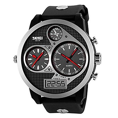 YPS Herren Tough Design Drei Zeitzonen Black Rubber Band Armbanduhr Red WTH0990