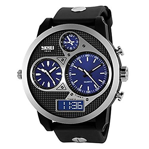 YPS Herren Tough Design Drei Zeitzonen Black Rubber Band Armbanduhr blau WTH0993