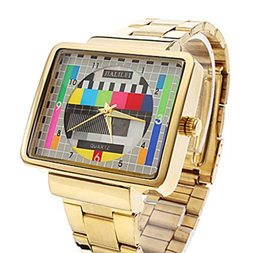 YPS Herrenkleid TV Pattern Platz Case Stahl Band Armbanduhr WTH8316