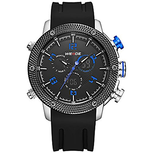 YPS Herrenluxusmarke Double Time Analog Digital Multifunktions Sport Armbanduhr Blau WTH3599