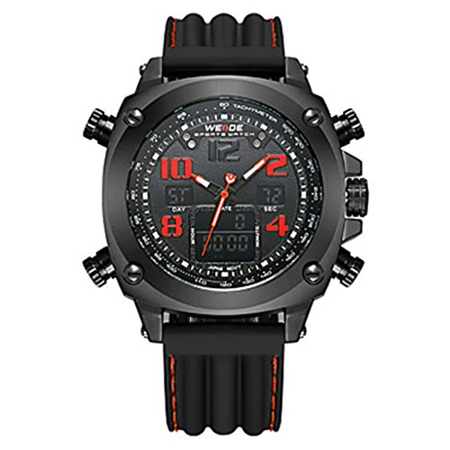YPS Herrenluxusmarke Double Time Analog Digital Multifunktions Sport Armbanduhr Rot WTH3593