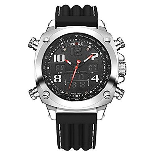 YPS Herrenluxusmarke Double Time Analog Digital Multifunktions Sport Armbanduhr Silber Schwarz WTH3592