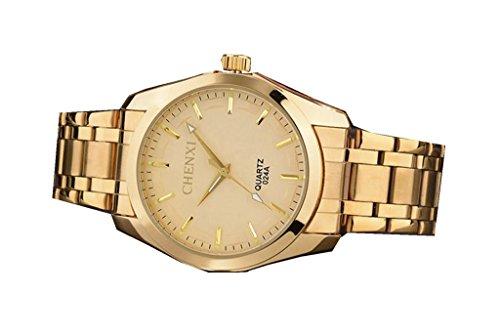 YPS Herrenluxusmarken Gold voller Stahl Kleid Mode Gold WTH3412