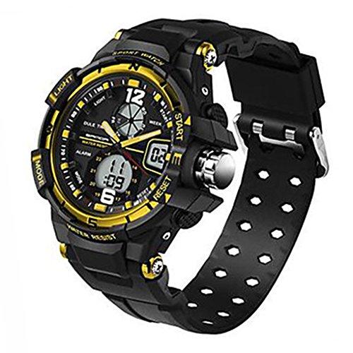 YPS Herrenmode Sport Analog Digital Double Time Gummiband Armbanduhr Gold WTH3520