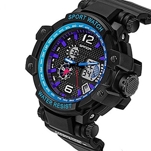 YPS Herrenmode Sport Analog Digital Double Time LCD Schirm Gummi Armbanduhr Blau WTH3507