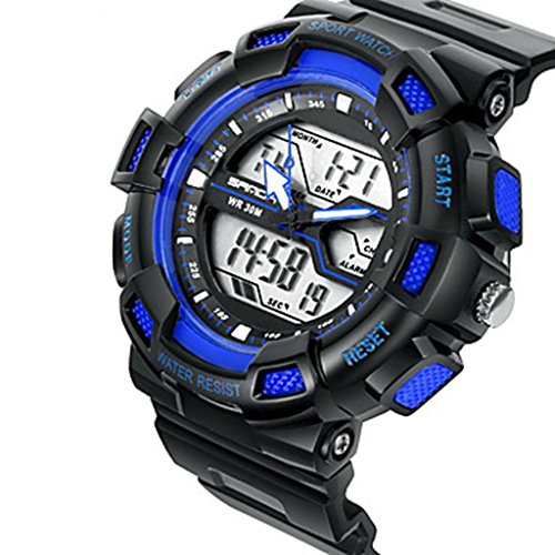 YPS Herrenmode Sport Analog Digital Double Time LCD Schirm Gummi Armbanduhr Blau WTH3532