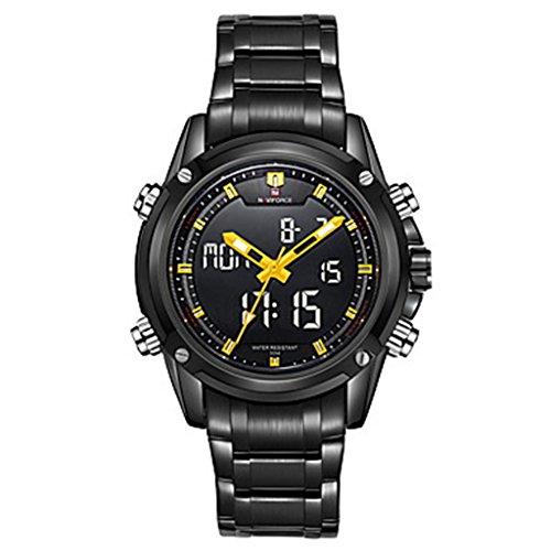 YPS Herrenmode Analog Digital Double Time Schwarz voller Stahl Quarz Sport Armbanduhr Gelb WTH3573