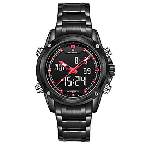 YPS Herrenmode Analog Digital Double Time Schwarz voller Stahl Quarz Sport Armbanduhr Rot WTH3571