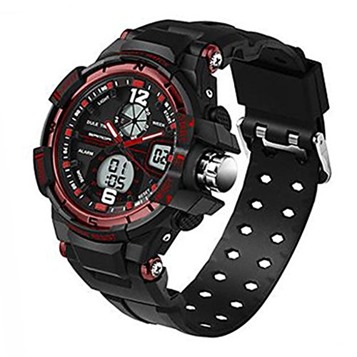 YPS Herrenmode Sport Analog Digital Double Time Gummiband Armbanduhr Rot WTH3521