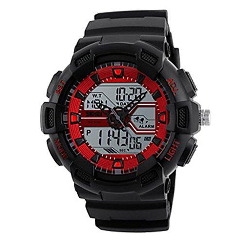 YPS Herrenmode Sport Analog Digital Three Time Gummiband Armbanduhr Rot WTH3544