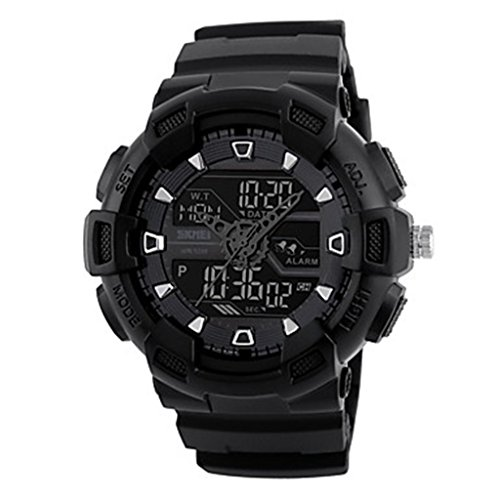 YPS Herrenmode Sport Analog Digital Three Time Gummiband Armbanduhr Schwarz WTH3543