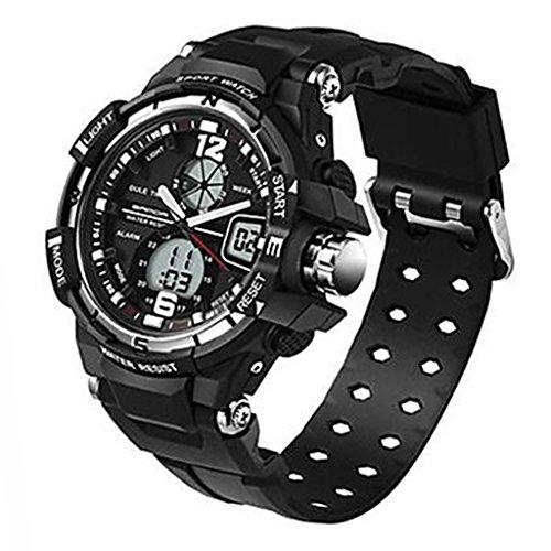 YPS Herrenmode Sport Analog Digital Double Time Gummiband Armbanduhr Silber WTH3522