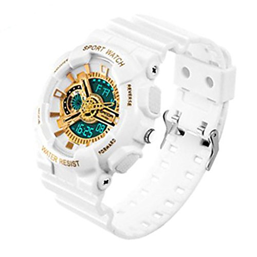 YPS Herrenmode Sport Analog Digital Double Time Gummiband Gold Weiss WTH3526
