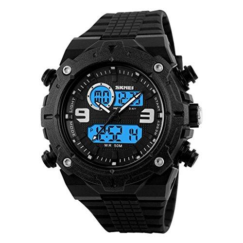 YPS Herrenmode doppelte Bewegung Analog Digital Gummiband Sport Armbanduhr Schwarz WTH3354