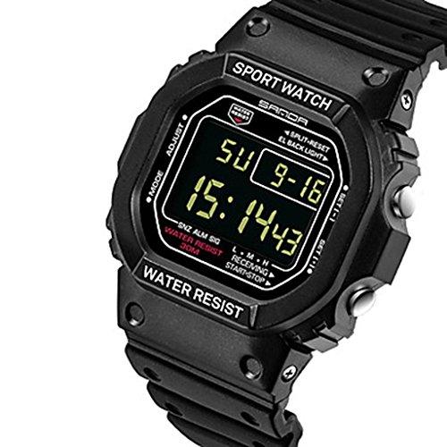 YPS Herrenmode Rechteck Digitaler LCD Schirm Sport Armbanduhr Weiss WTH3515