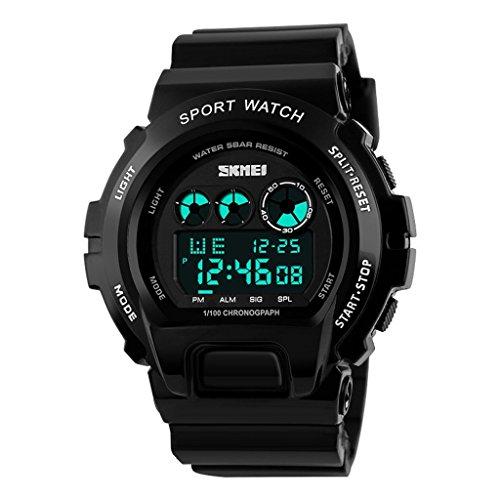 YPS Herrenmode Schwarz LCD Anzeige Alarm Stoppuhr Gummiband Sport Armbanduhr Schwarz WTH3348