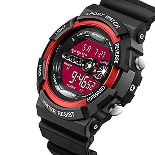 YPS Herrenmode Sport Digital LCD Schirm Gummi Armbanduhr Rot WTH3535