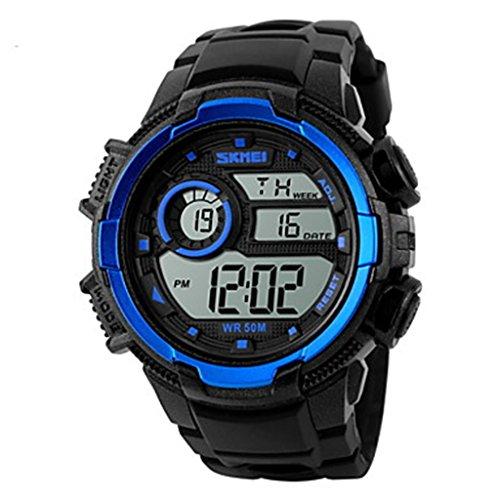 YPS Herrenmode Sport LCD Digital Gummiband Armbanduhr Blau WTH3567