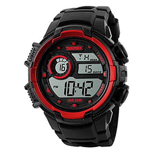 YPS Herrenmode Sport LCD Digital Gummiband Armbanduhr Rot WTH3568
