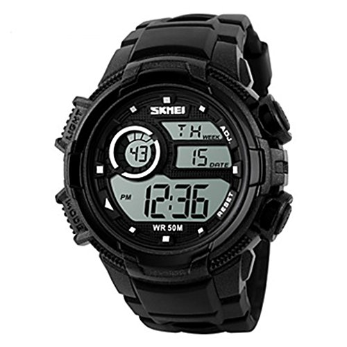 YPS Herrenmode Sport LCD Digital Gummiband Armbanduhr Schwarz WTH3566